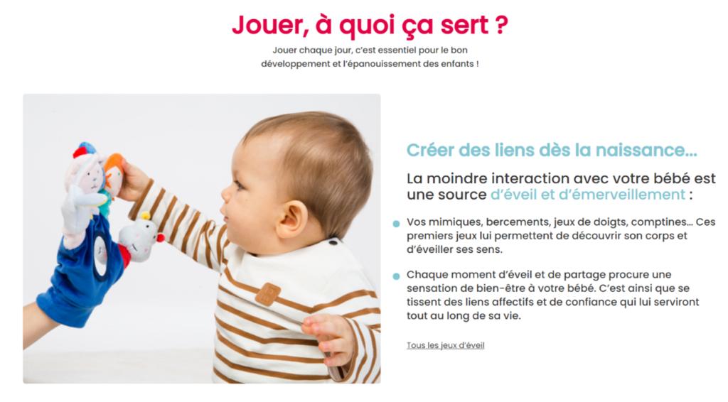 Capture d'écran du site Oxybul pour exemple de la stratégie de contenu